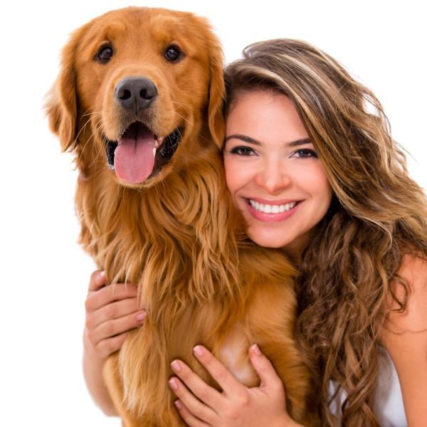 mascota perro con su amo