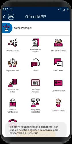 pantallazo app de la Ofrenda S.A.